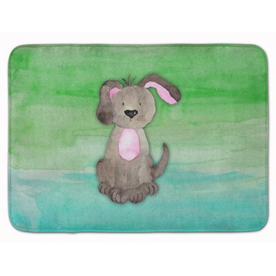 Harriett Dog Teal and Green Watercolor Memory Foam Bath Rug