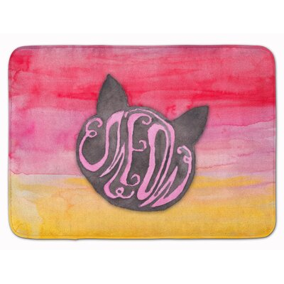 Cat Face Meow Watercolor Memory Foam Bath Rug