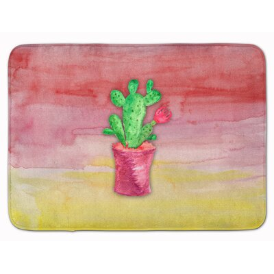 Flowering Cactus Watercolor Memory Foam Bath Rug