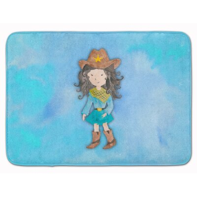 Yvonne Cowgirl Watercolor Memory Foam Bath Rug