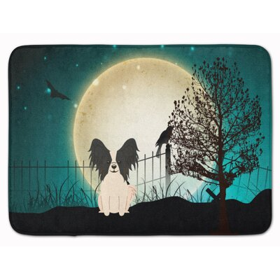 Halloween Scary Papillon Memory Foam Bath Rug Color: Black/White