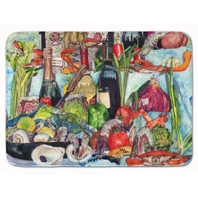 Wine Crab Shrimp and Oysters Memory Foam Bath Rug