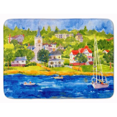 Harbour Scene with Sailboat Memory Foam Bath Rug