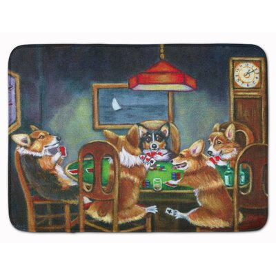 Corgi Playing Poker Memory Foam Bath Rug