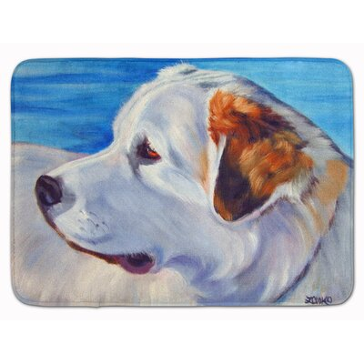 Great Pyrenees at the Beach Memory Foam Bath Rug