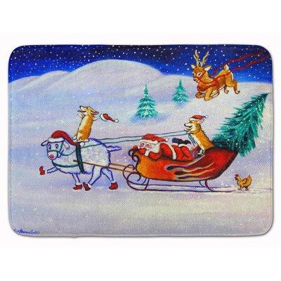 Corgi Highhacked Santa Claus Sleigh Memory Foam Bath Rug