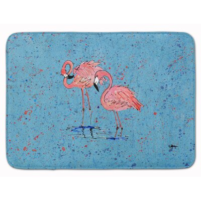 Flamingos Memory Foam Bath Rug Color: Blue