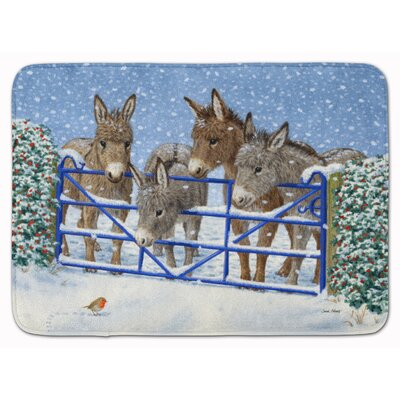 Donkeys and Robin at the Fence Memory Foam Bath Rug