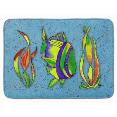 Tropical Fish Memory Foam Bath Rug Color: Blue