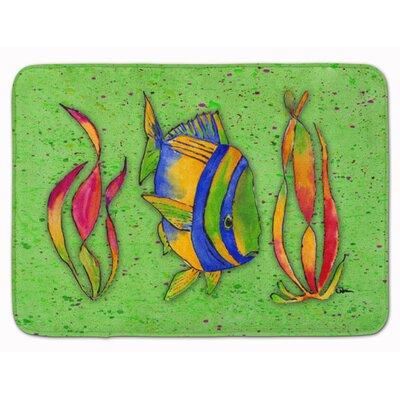 Tropical Fish Memory Foam Bath Rug Color: Green