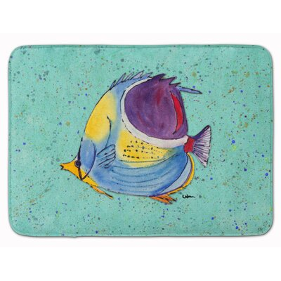 Tropical Fish Memory Foam Bath Rug Color: Teal