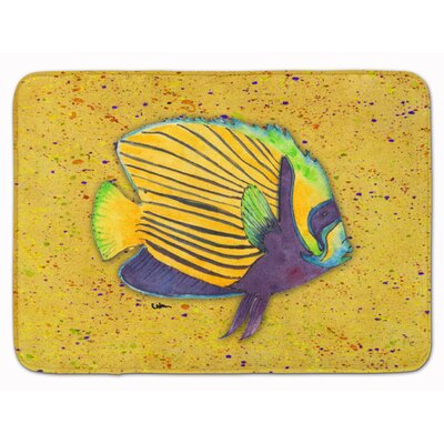Tropical Fish Memory Foam Bath Rug Color: Mustard