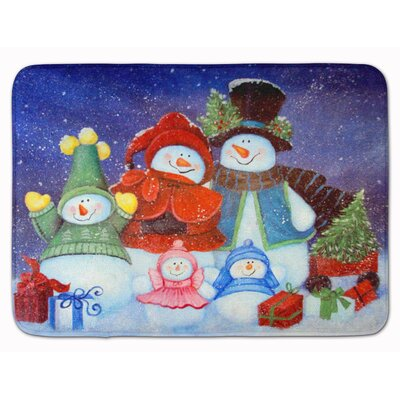 Merry Christmas From Us All Snowman Memory Foam Bath Rug
