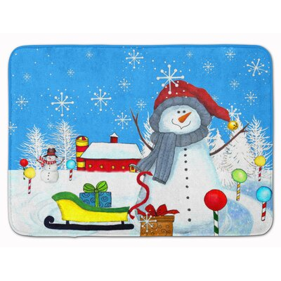 Snowman Snow Happens in the Meadow Memory Foam Bath Rug