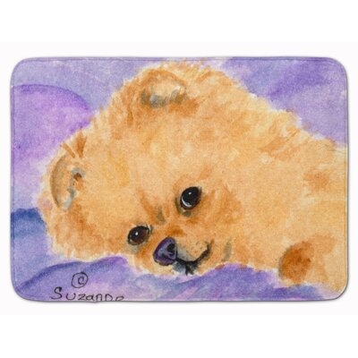 Pomeranian Memory Foam Bath Rug Color: Purple/Brown