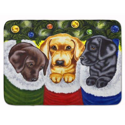 Christmas Stocking Surprise Labrador Memory Foam Bath Rug