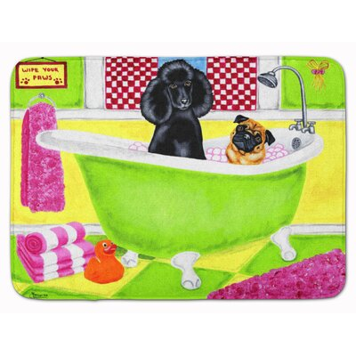 Tub for Two with Poodle and Pug Memory Foam Bath Rug
