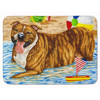 Beach Bum Staffie Memory Foam Bath Rug