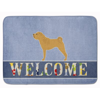 Shar Pei Merry Welcome Memory Foam Bath Rug