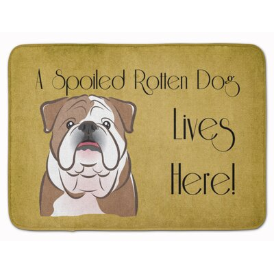 English Bulldog Spoiled Dog Lives Here Memory Foam Bath Rug Color: Brown/White