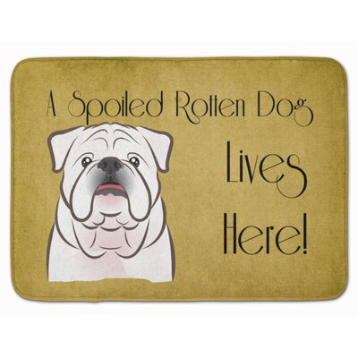 English Bulldog Spoiled Dog Lives Here Memory Foam Bath Rug Color: White