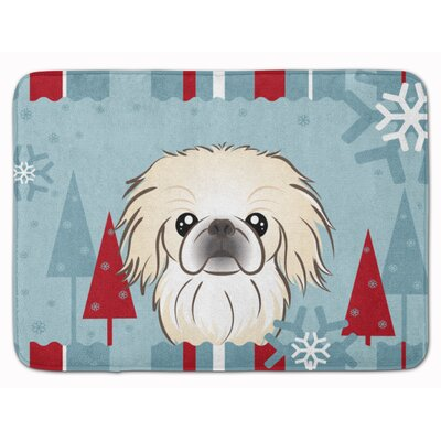 Winter Holiday Pekingese Memory Foam Bath Rug