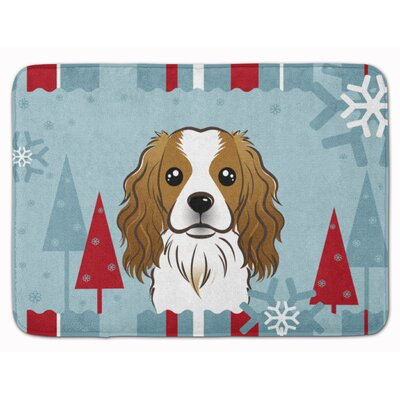 Winter Holiday Cavalier Spaniel Memory Foam Bath Rug