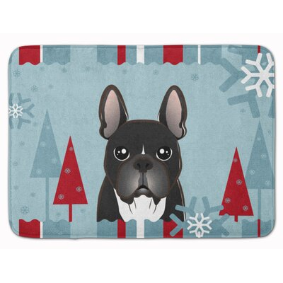Winter Holiday French Bulldog Memory Foam Bath Rug