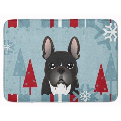 Winter Holiday French Bulldog Memory Foam Bath Rug