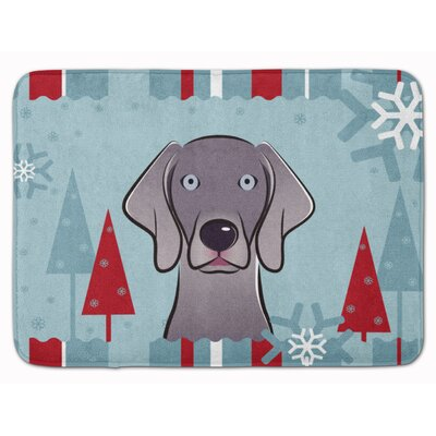 Winter Holiday Weimaraner Memory Foam Bath Rug