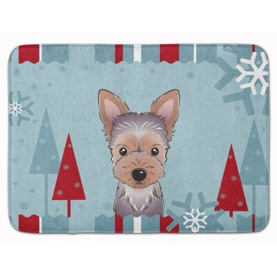Winter Holiday Yorkie Puppy Memory Foam Bath Rug