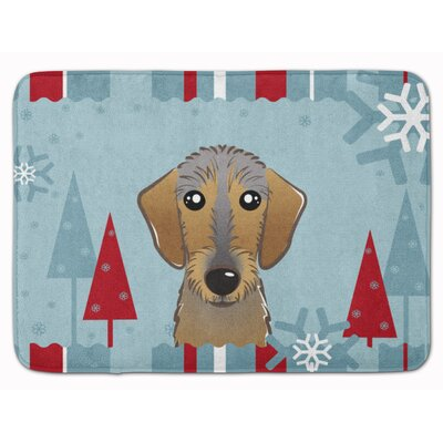 Winter Holiday Wirehaired Dachshund Memory Foam Bath Rug