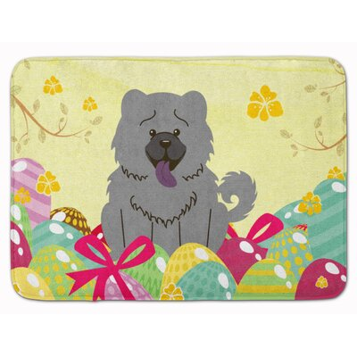 Easter Eggs Chow Chow Memory Foam Bath Rug Color: Blue