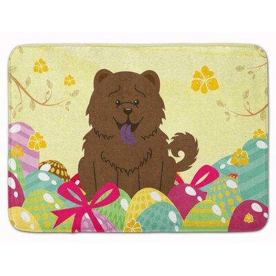 Easter Eggs Chow Chow Memory Foam Bath Rug Color: Chocolate