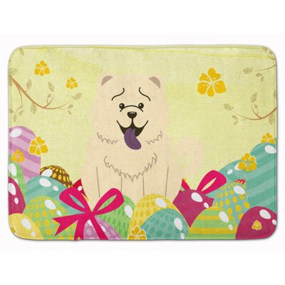Easter Eggs Chow Chow Memory Foam Bath Rug Color: White