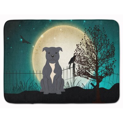 Halloween Scary Bull Terrier Memory Foam Bath Rug Color: Blue