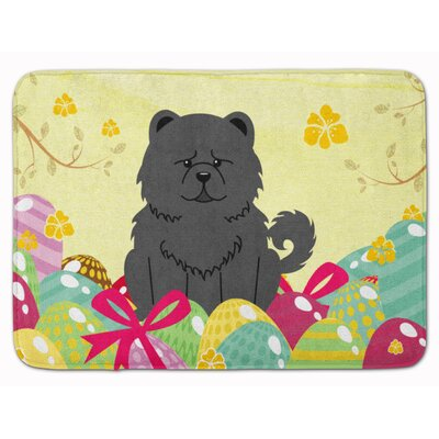 Easter Eggs Chow Chow Memory Foam Bath Rug Color: Black