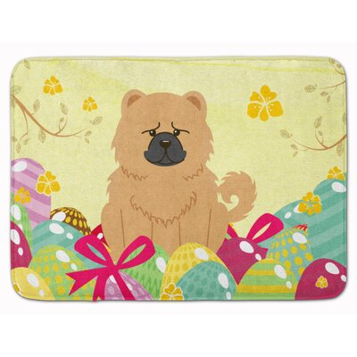 Easter Eggs Chow Chow Memory Foam Bath Rug Color: Cream