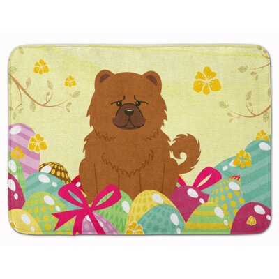 Easter Eggs Chow Chow Memory Foam Bath Rug Color: Red