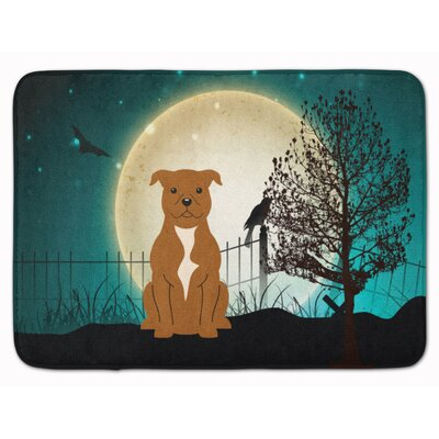 Testa Scary Bull Terrier Memory Foam Bath Rug Color: Brown