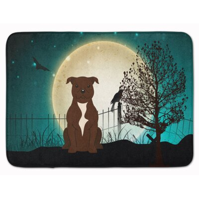 Halloween Scary Bull Terrier Memory Foam Bath Rug Color: Chocolate