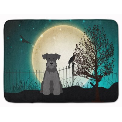 Halloween Miniature Schanuzer Memory Foam Bath Rug Color: Gray