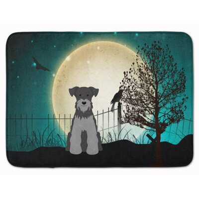 Halloween Scary Miniature Schanuzer Memory Foam Bath Rug Color: Black/Gray