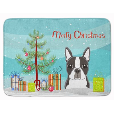 Christmas Tree and Boston Terrier Memory Foam Bath Rug