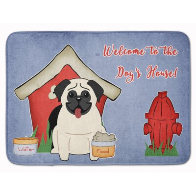 Dog House Pug Memory Foam Bath Rug Color: Cream