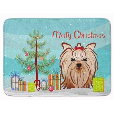 Christmas Yorkie Yorkishire Terrier Memory Foam Bath Rug