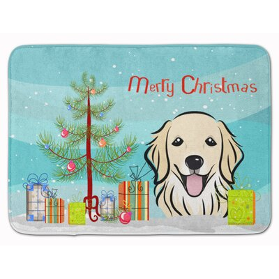 Christmas Tree and Retriever Memory Foam Bath Rug