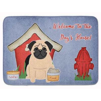 Dog House Pug Memory Foam Bath Rug Color: White