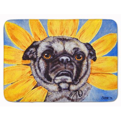 Sunflower Pug Memory Foam Bath Rug