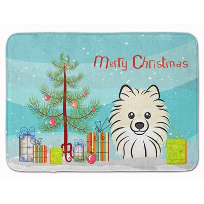 Christmas Tree and Pomeranian Memory Foam Bath Rug